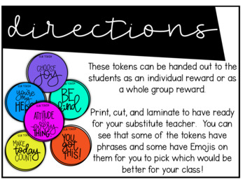 Substitute Teacher Classroom Management Tokens