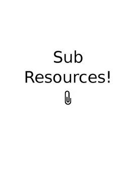 Substitute Teacher Cover Sheet