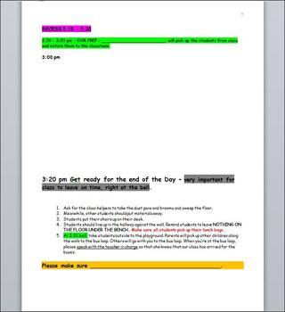 Substitute Teacher Day Plan Template - CUSTOMIZABLE WORD DOCUMENT