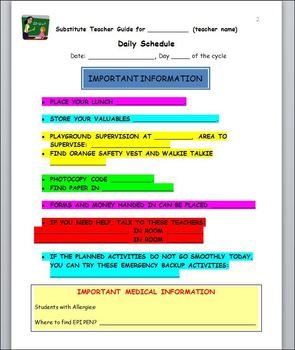 substitute teacher day plan template customizable word document