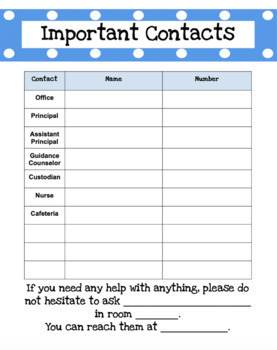 Substitute Teacher EDITABLE Information Packet