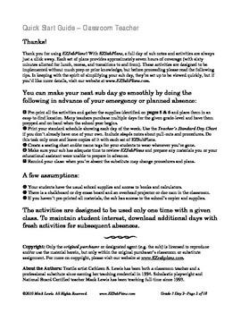 Substitute Teacher Emergency Absence Plans; EZSubPlans Grade 3 Day 2
