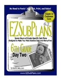 Substitute Teacher Emergency Absence Plans EZSubPlans Grade 6 Day 2