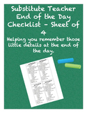 Substitute Teacher End-Of-Day Checklist - Sheet of 4