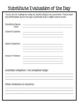 Substitute Teacher Evaluation of the Day Form