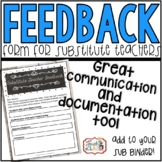 Substitute Teacher Feedback Form