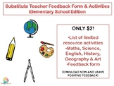Substitute Teacher Feedback Form & Activities Elementary School Edition