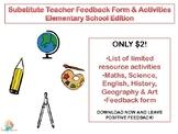 Substitute Teacher Feedback Form & Activities Elementary S