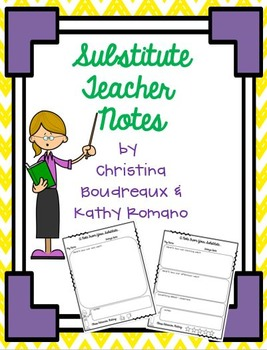 Substitute Teacher Feedback Notes