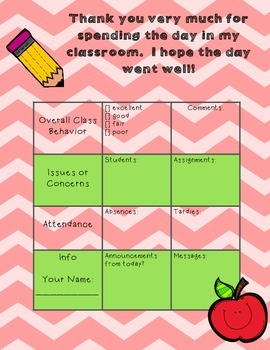 Substitute Teacher Feedback Sheet