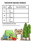 Substitute Teacher Feedback Sheet Camping Theme