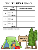 Substitute Teacher Feedback Sheet Camping Theme