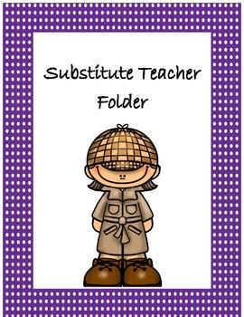 Substitute Teacher Folder Cover~ Purple Polka Dot Detective