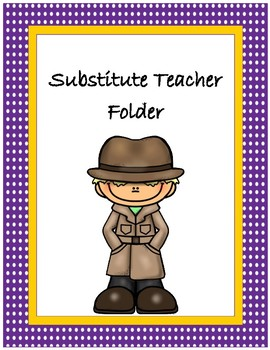 Substitute Teacher Folder Cover~ Purple Polka Dot with Gold Trim Detective