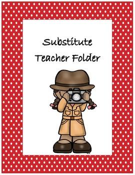 Substitute Teacher Folder Cover~ Red Polka Dot Detective