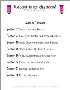 Substitute Teacher Folder Dividers & Feedback From