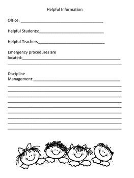 Substitute Teacher Folder For Elementary School Teachers
