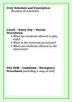 Substitute Teacher Folder for Elementary and Middle School Staff - Easy to Use!