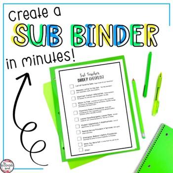Substitute Teacher Folder for Special Education Teachers- Black/White
