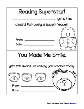 Substitute Teacher Folder papers