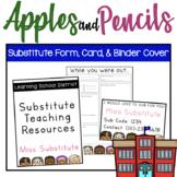 Substitute Teacher Form, Card, & Binder Cover