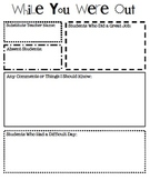 Substitute Teacher Form-While You Were Out