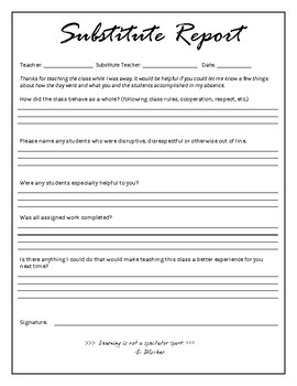 Substitute Teacher Forms