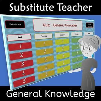 Substitute Teacher General Knowledge Quiz Reliever Supply