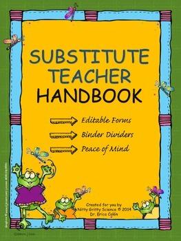 Substitute Teacher Handbook - EDITABLE Sub Plans