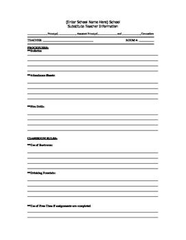Substitute Teacher Info Sheet