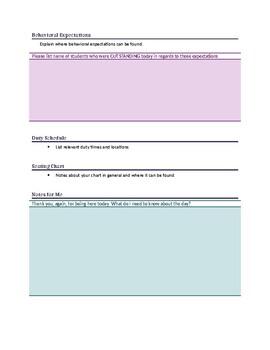 Substitute Teacher Information Sheet