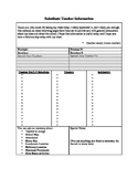 Substitute Teacher Information Sheets