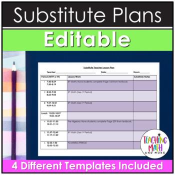 Editable Substitute Teacher Lesson Plan in Word Document