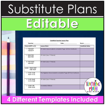 Editable Substitute Teacher Lesson Plan in Word Document