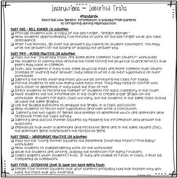 Substitute Teacher Lesson Plan - Inherited Traits