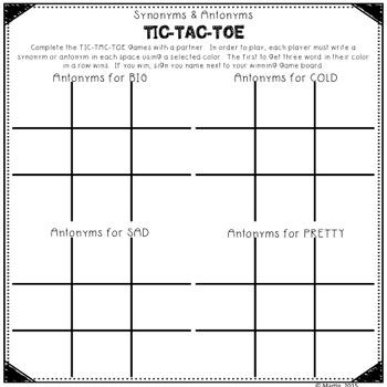 Substitute Teacher Lesson Plan - Synonyms & Antonyms