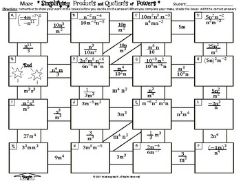 Substitute Teacher Math Puzzle Maze:Products and Quotients of Power
