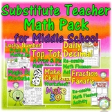 Substitute Teacher Math Resource Bundle for Middle School