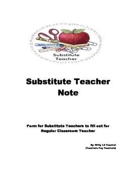 Substitute Teacher Note