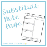 Sub Note for Substitute Teachers