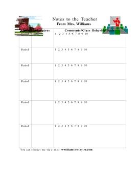 Substitute Teacher Note Sheet
