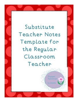 Substitute Teacher Note Template