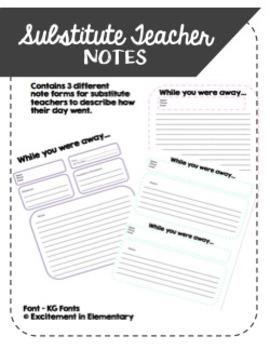 Substitute Teacher Note Templates