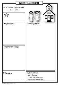 Substitute or Relief Teacher Note for Classroom Teacher