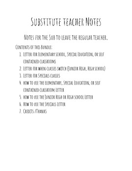 Substitute Teacher Note pages
