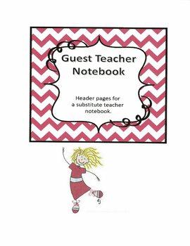 Substitute Teacher Notebook Header Pages - Pink Chevron
