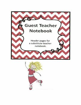 Substitute Teacher Notebook Header Pages - Red Chevron