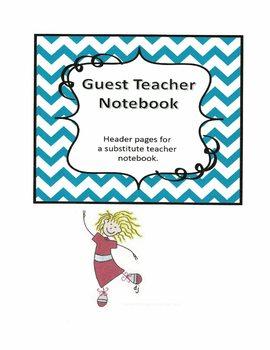Substitute Teacher Notebook Header Pages - Teal Chevron