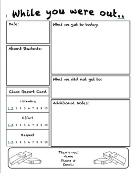 Substitute Teacher Notes-For Subs