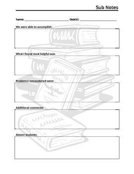 Substitute Teacher Notes Sheet